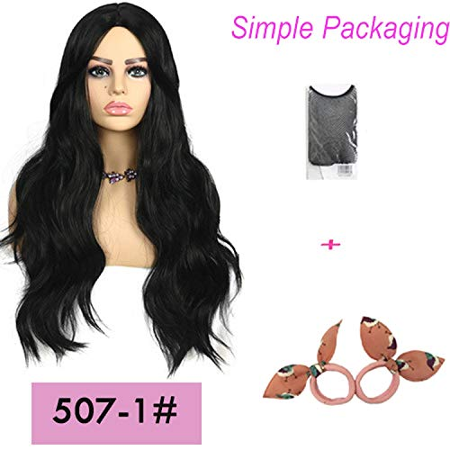 Long wavy wigs for women 26inches synthetic wig Blonde Brown Black Pink fake hair for choose 7 colors hair,507-1,26inches