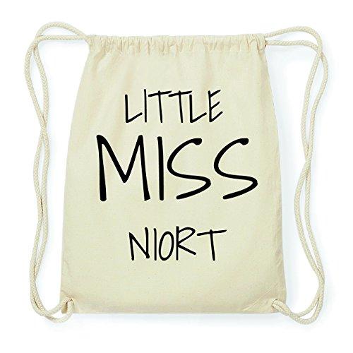 JOllify NIORT Hipster Turnbeutel Tasche Rucksack aus Baumwolle - Farbe: natur Design: Little Miss