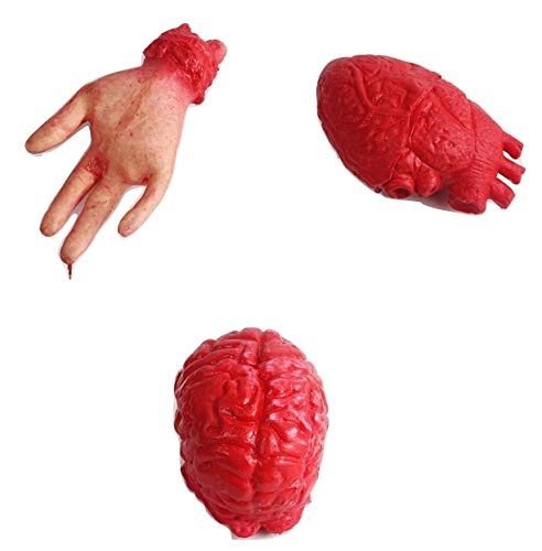 (Halloween Prop [3 Items] Bloody Horror Scary Fake Severed Lifesize Arm Hand Heart Brain Haunted)