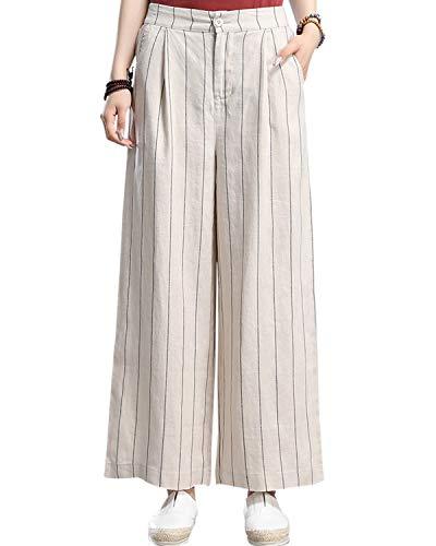 Aeneontrue Women's 100% Linen Wide Leg Pants Capri Trousers Back with Elastic Waist (S, - Capris Linen Leg Wide