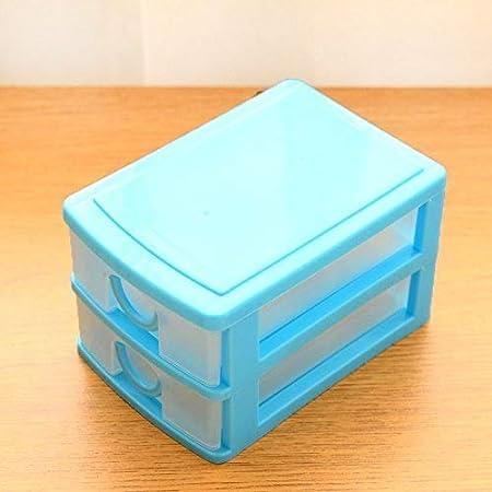 XXAICW Mini cajón almacenamiento caja de plástico multicapa clasificación caja Caja de juguete con cajas de almacenaje de oficina transparentes, Azul de dos pisos: Amazon.es: Hogar
