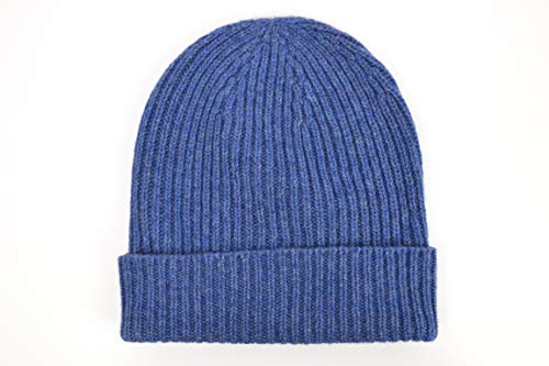 Cashmere Ribbed Beanie Hat in Lapis Made in Scotland