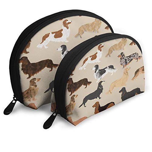 ZhangShaoHun Long Haired Dachshunds Dogs Portable Travel Makeup Bags Cosmetic Pouch Organizer Multifunction Toiletry Bags for Women and Girls