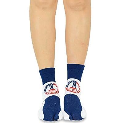 TeeHee Flip Flop Big Toe Cotton Socks 3-Pairs Pack (American Flag) at Women's Clothing store