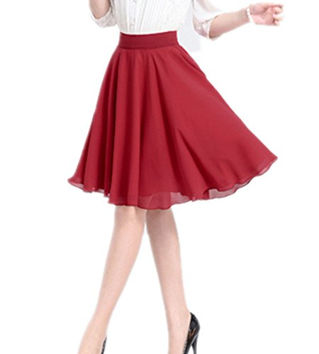 Amao Women Chiffon Solid Color Flared Knee Length A-line Skirt (X-Large, Red)