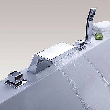 Moderne Moderner Stil 3-Loch-Armatur Wasserfall Handdusche inklusive with Messingventil Drei Griffe Fünf Löcher for Chrom , by FAUCET&YAMEIJIA