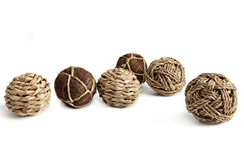 Medium Grass Ball - Mkono Woven Grass Play Ball for Rabbit Natural Pet Chew Toys Improve Dental Health for Bunny,Hamster,Guinea Pig,and Small Animals, Pack of 6