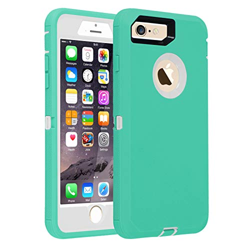 Case for iPhone 6/6s,[Heavy Duty] 3 in 1 Built-in Screen Protector Cover Dust-Proof Shockproof Drop-Proof Scratch-Resistant Shell Case for Apple iPhone 6/6s 4.7 inch,Mint&White