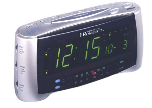 Emerson CKS2237 Dual Alarm Clock Radio (Silver) (Discontinued by Manufacturer)