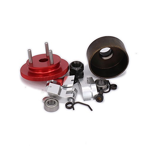 HobbyCrawler Clutch Bell Shoes Bearing 14T Gear Flywheel Assembly Kit Set Springs Cone Engine Nut for 1/8 RC Hobby Model Nitro Car HPI HSP Traxxas Axial Himoto (Red Color)
