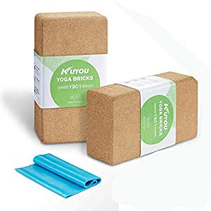 "Cork Yoga Block 2 Pack Plus Strap Cork Yoga Bricks Eco-friendly 9"" x 6"" x 3"" Yoga Exercise Blocks Bricks Set, Starter Kit, Beginners Kit, Any Type of Yoga Styles"
