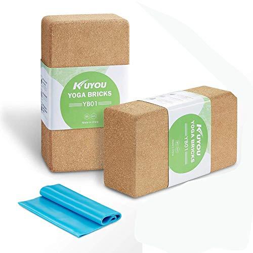 Cork Yoga Block 2 Pack Plus Strap Cork Yoga Bricks Natural Eco-Friendly 9″ x 6″ x 3″ Yoga Exercise Blocks Bricks Set Set, Starter Kit, Beginners Kit, Any Type of Yoga Styles – DiZiSports Store