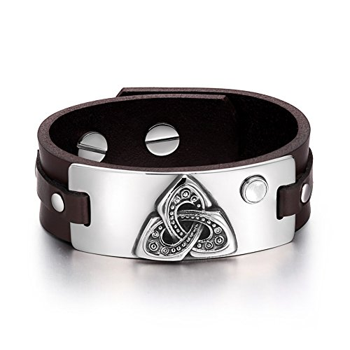 Celtic Triquetra Knot Magic Powers Amulet Tag White Simulated Cats Eye Adjustable Brown Leather Bracelet