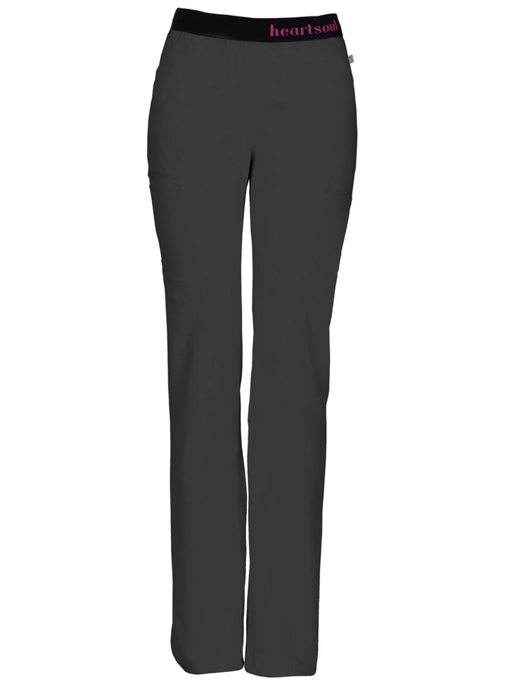 HeartSoul Scrubs Women's Head Over Heelsso in Love Low Rise Pull-on Pant, Pewter, X-Large Tall