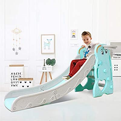 Toddler Climber Slide Set with 70-inch Extra Long Slide, Outdoor Plastic Play Slide for Kids Indoor/Outdoor Activity (Blue): Beauty
