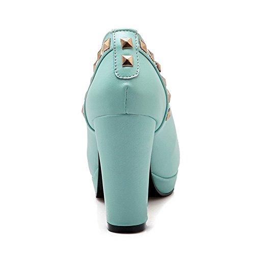 AllhqFashion Damen Weiches Material Ziehen auf Rund Zehe Hoher Absatz Eingelegt Pumps Schuhe Blau