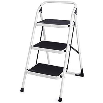 Goplus 3 Step Ladder Folding Heavy Duty Step Stool with Handgrip and Wide Anti-Slip Platform Sturdy HD Construction, 340lbs Capacity (Black)