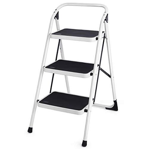 Goplus 3 Step Ladder Folding Heavy Duty Step Stool with Handgrip and Wide Anti-Slip Platform Sturdy HD Construction, 330lbs Capacity (Black)