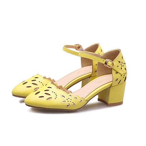 CXQ-Talones QIN&X Bloque de mujeres señaló Toe sandalias zapatos Yellow