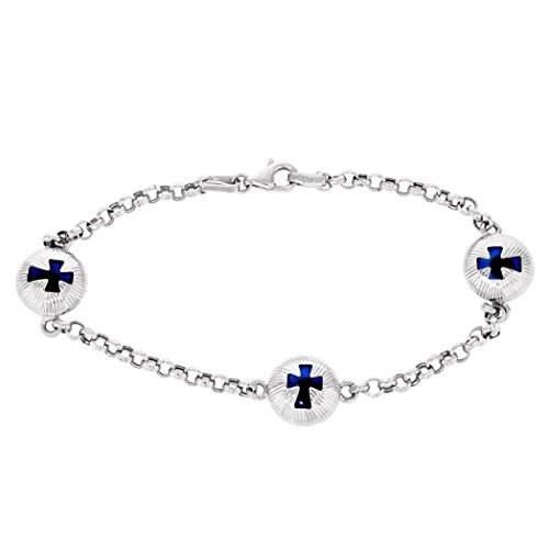 JewelryAmerica Polished 14k White Gold Blue Evil Eye with Cross Chain Link Bracelet, 7