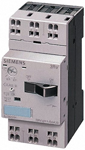 Siemens 3RV1011-1GA20 Motor Starter Protector, Cage Clamp Connection, 3RV101 Frame Size, 4.5-6.3 FLA Adjustment Range, 82A Instantaneous Short Circuit Release, 65kA UL Short Circuit Breaking Capacity at 480V