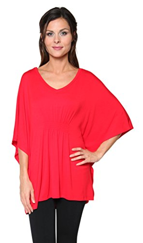 Free to Live Women's Long Loose Fit Oversized Smocked V-neck Tunic Made in USA (Medium, (Cinched Waist Top)