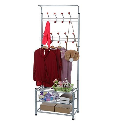 Wabaodan Metal Entryway Coat Shoe Rack 3-Tier Shoe Bench with Coat Hat Umbrella Rack Multifunctional Storage 【Ship From ()