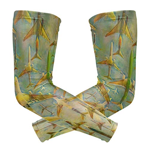Vintage Aircraft Plane Arm Sleeve Compression Elbow UV Sun Protection Sleeve for Driving ()