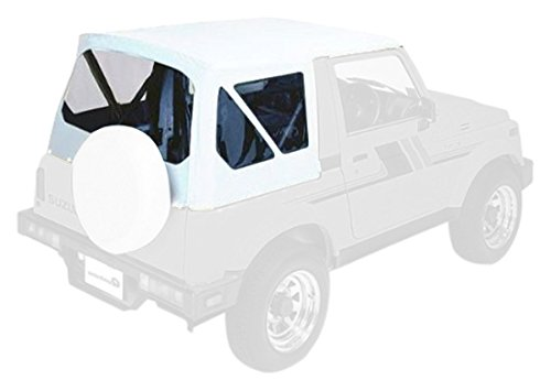 Pavement Ends by Bestop 51133-52 White Denim Replay Replacement Soft Top Clear Windows; No Door Skins Included for 1987-1995 Suzuki Samurai