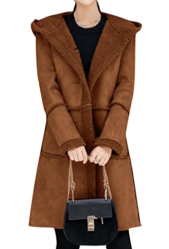 BYWX-Women Outerwear Faux Suede Fleece Lined Hoodie Shearling Coat Camel US L