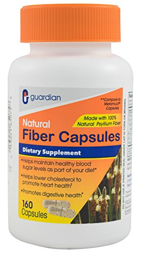 Konsyl Fiber Supplement (Guardian Daily Fiber Supplement, Natural Psyllium Husk Capsules, 160 CT)