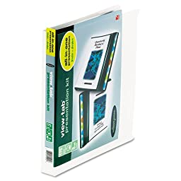 View-Tab Round Ring Presentation Binder, 8-Tab Style, 1\'\' Capacity, White, Sold as 1 Each