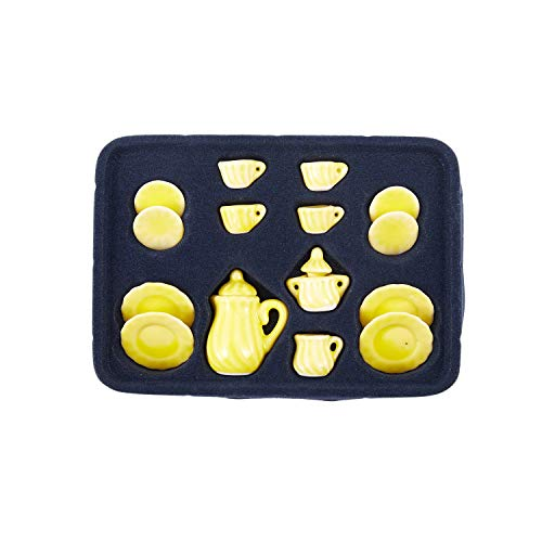 TOOGOO(R) LOT OF 15 Jinger Yellow Dollhouse Miniature porcelain China Coffee Tea Pot Cups