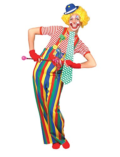 UHC Men's Striped Clown Overalls Funny Theme Party Adult Halloween Costume, L (Clown Overalls)