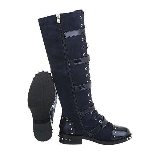 Ital-Design Women's Boots Block Heel Cowboy & Biker Boots at Dark Blue A-50 yNU0w