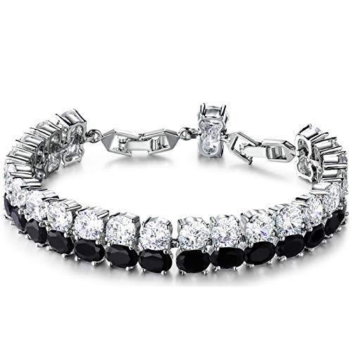(GULICX Women Fashion Silver Tone 2 Layer Black Rhinestones Tennis Bracelet with Cubic Zircons)