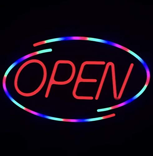 LED 18'' X 10.5'' Open Signs for Business ONE Sign = Many Colors - Super Bright LED Sign, Store Sign, Business Sign, Windows Sign/Remote Control Included!!!