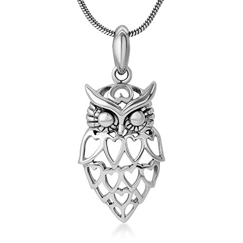 Owl Sterling Silver Pendant - 925 Sterling Silver Open Lovely Heart Owl Wisdom Bird Pendant Necklace for Women, 18