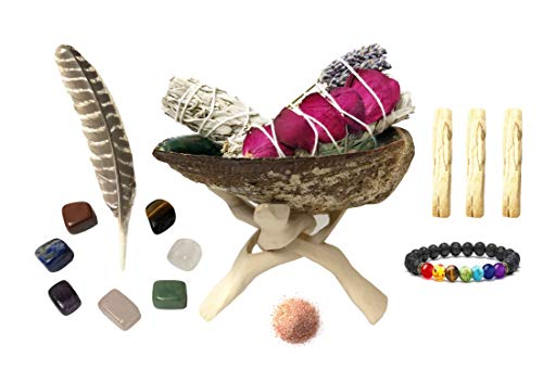 (White Sage Smudge Kit - 2 White Sage (One with Rose and Lavender), 3 Palo Santo, Abalone Shell with Natural Wooden Tripod Stand, Chakra Stones, Chakra Bracelet, Feather and Himalayan Salt!)