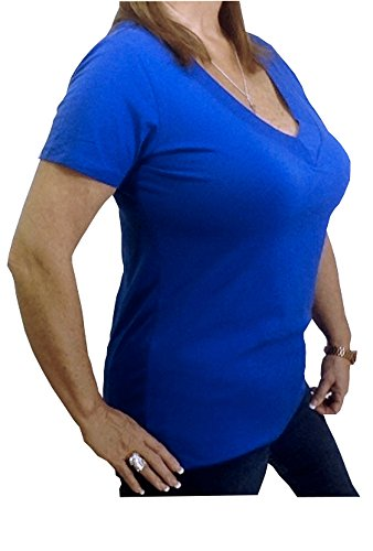Royal Blue Plus Size Low-Cut V-Neck Plunge Casual Shirt Top 1x2x3x