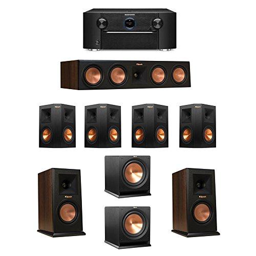 Klipsch-72-Walnut-System-with-2-RP-150M-Monitor-Speakers-1-RP-450C-Center-Speaker-4-Klipsch-RP-250S-Ebony-Surround-Speakers-2-Klipsch-R-112SW-Subwoofer-1-Marantz-SR7011-AV-Receiver