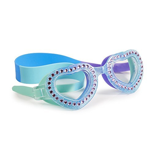 Swimming Goggles For Girls - Je T'Aime Kids Swim Goggles By Bling2o (Mint Blue)