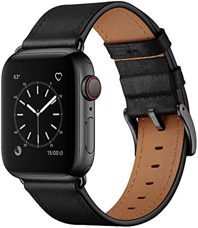 OUHENG Compatible with Apple Watch Band 42mm 44mm, Genuine Leather Band Replacement Strap Compatible with Apple Watch Series 6/5/4/3/2/1/SE 44mm 42mm, Black Band with Black Adapter