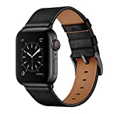 OUHENG Compatible with Apple Watch Band 42mm 44mm, Genuine Leather Band Replacement Strap Compatible with Apple Watch Series 4 Series 3 Series 2 Series 1 44mm 42mm Sport Edition, Black
