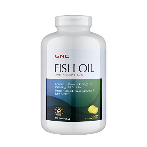 GNC Fish Oil, Lemon, 360 Softgels, Supports Heart, Brain, Skin, Eye and Joint ()