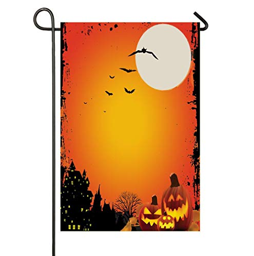 AnleyGardeflagsU Flying Bats and Scary Smiling Pumpkins Halloween Night with Full Moon Garden Flag for Garden Decorations Party Supplies ()