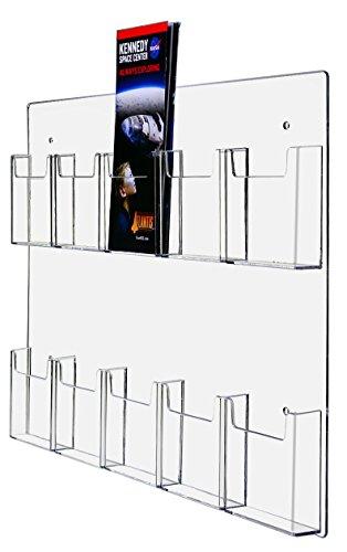 Marketing Holders Wall-Mount Tri Fold 10 Pocket Pamphlet Flyer Holder Brochure Display (1, 10 Pocket)