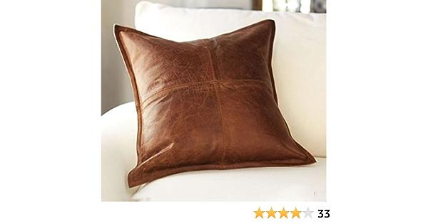 Amazon Com Koza Leathers Lambskin Leather Pillow Cushion Cover 16 X16 24 X24 20 X20 Home Kitchen