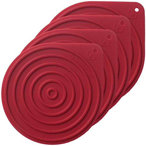 Tea Trivet (Silicone Hot Pad Trivet for Microwave Turntables, Stoneware, Cassoroles, Tea Kettles or Anything Hot, Heavy Duty Protection, Medium Dark Red, 4-Pack)