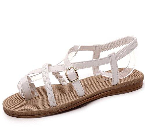 Minetom Damen Maedchen Sommer Böhmische Stil Peep Toe Flip Flop Schuhe Flach Zehentrenner Sandalen Weiß 2